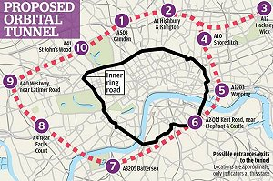 £30bn plans for London tunnel ring road