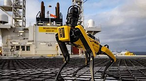 """Spot"" the robot dog aboard the Skarv FPSO in the North Sea. PHOTO SOURCE: Cognite"