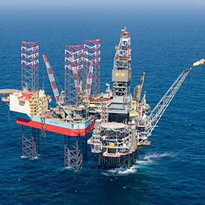 A Maersk drilling rig in the North Sea. Courtesy of Maersk Group
