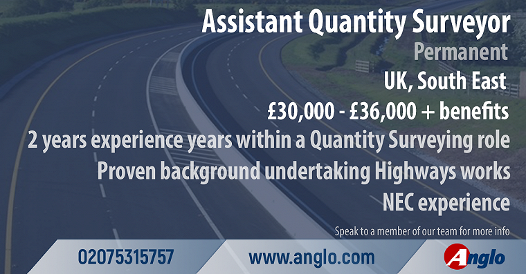 Assistant Qualitity Surveyor, UK, South East, £30,000-£36,000 + benefits