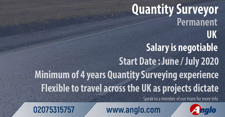 Quanlity Surveyor, UK, minimum 4 years experience