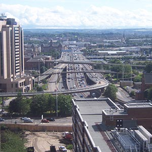 A view over Glasgow, looking south along the M8. Photo: Alex Liivet