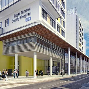 An artist's impression of the new hospital's main entrance. Photo: Brighton and Sussex University Hospitals NHS Trust