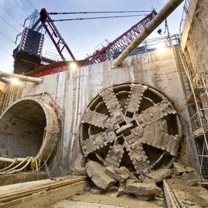 A tunnel boring machine breaks through on Crossrail. Photo: Crossrail