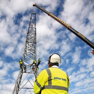 Balfour Beatty operatives carrying out pylon works. Photo courtesy of Balfour Beatty