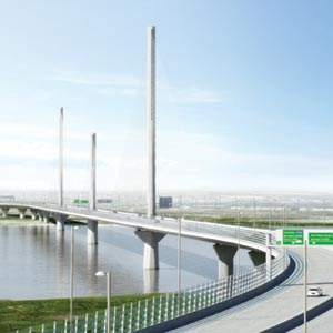 An artist's impression of the Mersey Gateway bridge. Photo: Mersey Gateway Project
