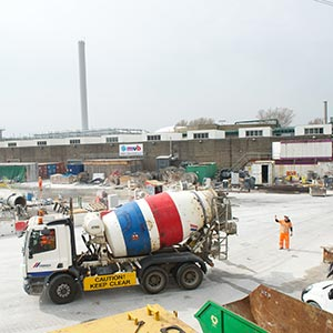 Construction at the Lee Tunnel site. When the Thames Tideway Tunnel is built, sewage and rainfall from it will be transferred through the Lee Tunnel to Beckton Sewage Works. Photo: Thames Water.