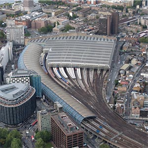 An aerial view of London Waterloo station. Photo: Network Rail
