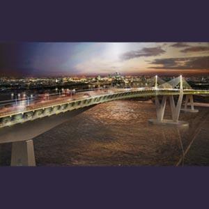 Artists impression of bridge courtesy of HOK & Arup,
