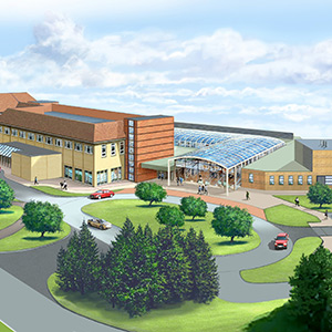 An artist's impression of the hospital redevelopment. Photo: Willmott Dixon