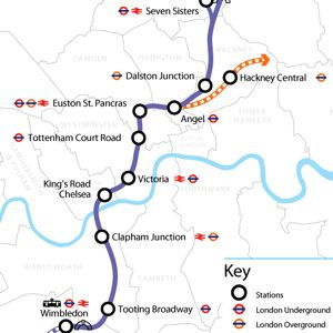 A map showing the central section of Crossrail 2. Courtesy of TfL