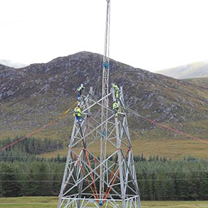 Operatives working on a transmission facility. Photo courtesy of SHE Transmission.