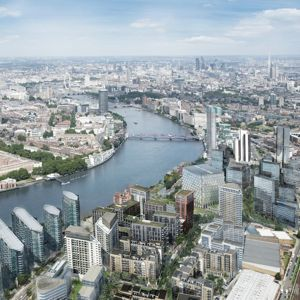 A new bridge will be designed to link Nine Elms with Pimlico. Image credit: Embassy Gardens, by Ballymore