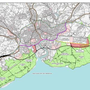 The new road, shown in black, will run to the South of Newport. Photo courtesy of Welsh Government