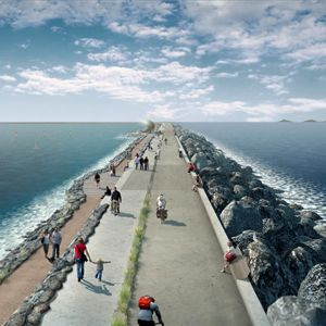A sea wall will house underwater turbines