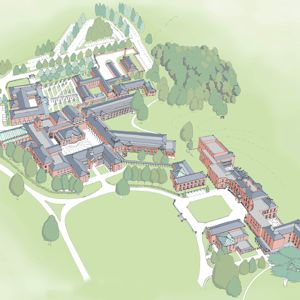 An artist's impression showing an aerial view of the new Centre at Stanford Hall.