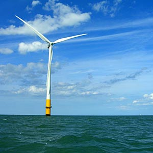 Offshore wind turbine in the Thames Estuary. Photo: Phault