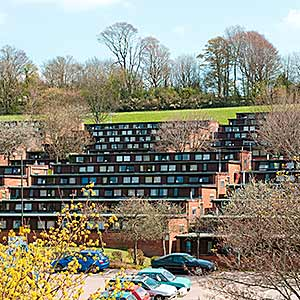 Students' accommodation at East Slope. Image: University of Sussex.