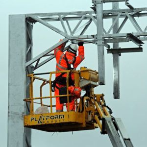 Electrification work under way. Photo: Network Rail