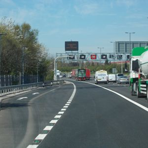 A section of smart motorway on the M6 featuring an emergency refuge area