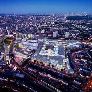 Aerial view of Westfield Shopping Centre in White City, London