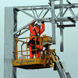 An operative carrying out electrification work. Photo courtesy of Network Rail.