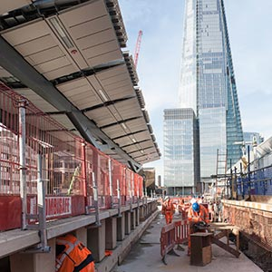 Construction operatives work on platforms at London Bridge station. Photo courtesy of Thameslink.